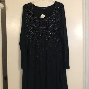 Knit Embellished Swing Dress. Forest Green. XL